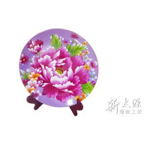 《新太源》(台湾花布柄)紅花展示盤 (ベニハナ大皿-紫-12寸) 《台湾 お土産》|rnet-servic