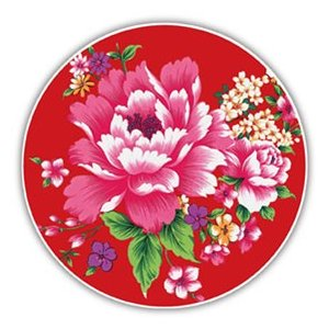 《新太源》(台湾花布柄)紅花系列吸水杯(魔法の吸水コースター 赤) 《台湾 お土産》|rnet-servic
