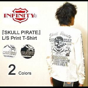 INFINITY(インフィニティー) 『SKULL PIRATE』 刺繍&プリント長袖Tシャツ 2010年モデル アメカジバイカーデザイン L/S-T ロンT 【BI9069】【BI-9069】|robinjeansbug