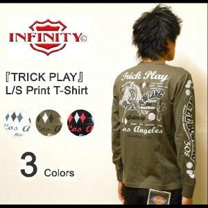 INFINITY(インフィニティー) 『TRICK PLAY』 刺繍&プリント長袖Tシャツ 2010年モデル アメカジバイカーデザイン L/S-T ロンT 【BI9071】【BI-9071】|robinjeansbug
