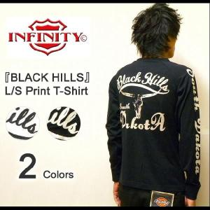 INFINITY(インフィニティー) 『BLACK HILLS』 刺繍&プリント長袖Tシャツ 2010年モデル アメカジバイカーデザイン L/S-T ロンT 【BI9074】【BI-9074】|robinjeansbug