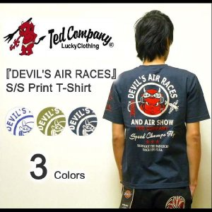 TEDMAN'S(テッドマン) 『DEVIL'S AIR RACES』 ミリタリープリント 半袖Tシャツ エフ商会 TED COMPANY アメカジ 【TDSS-376】【TDSS376】|robinjeansbug