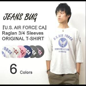 (TB7分袖)『U.S. AIR FORCE CA』 JEANSBUG ORIGINAL PRINT 7分袖Tシャツ オリジナルエアフォースミリタリープリント トライブレンド七分袖Tシャツ【7TBT-CA】|robinjeansbug
