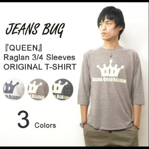 (TB7分袖)『QUEEN』 JEANSBUG ORIGINAL PRINT 7分袖Tシャツ オリジナルアメカジプリント トライブレンド 七分袖Tシャツ 【7TBT-QUEEN】|robinjeansbug