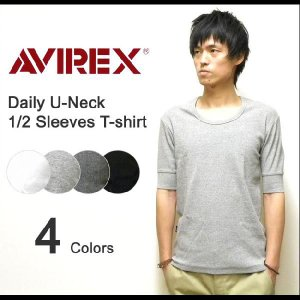AVIREX(アヴィレックス) DAILY U-NECK 1/2 SLEEVES T-SHIRT リブ素材Uネック 5分袖無地Tシャツ 伸縮デイリー生地 五分袖インナー アビレックス 【6193142】|robinjeansbug