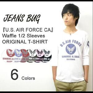 (WF5分袖)『U.S. AIR FORCE CA』 JEANSBUG ORIGINAL PRINT Tシャツ オリジナルエアフォース ミリタリープリント ワッフル五分袖Tシャツ サーマル 【WF5T-CA】|robinjeansbug