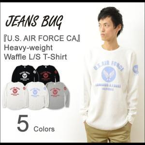 HWFロンT U.S. AIR FORCE CA オリジナル エアフォース ミリタリー プリント ヘビー ワッフル 長袖 Tシャツ メンズ 大きいサイズ 厚手 サーマル HWLT-CA|robinjeansbug