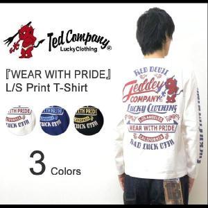 TEDMAN'S(テッドマン) 『WEAR WITH PRIDE』 ホットロッドプリント 長袖Tシャツ ピンストライプ アメカジ ロンT エフ商会 TED COMPANY 【TDLS-272】【TDLS272】|robinjeansbug