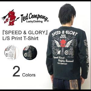 TEDMAN'S(テッドマン) 『SPEED & GLORY』 ホットロッドプリント 長袖Tシャツ アメカジ ロンT エフ商会 TED COMPANY 【TDLS-274】【TDLS274】|robinjeansbug