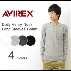 AVIREX アヴィレックス デイリー 長袖 ヘンリーネック 無地 Tシャツ メンズ インナー 首ボタン カットソー ロンT アビレックス USA 大きいサイズ XL 6153482|robinjeansbug