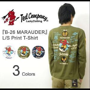 TEDMAN'S(テッドマン) 『B-26 MARAUDER』 ミリタリープリント 長袖Tシャツ アメカジ ロンT 第8空軍 AIRFORCE エアフォース エフ商会【TDLS-269】【TDLS269】|robinjeansbug