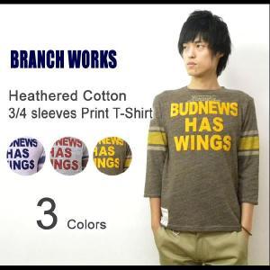 BRANCH WORKS(ブランチワークス) 杢コットン 7分袖プリントTシャツ フロッキープリント 七分袖T 霜降り アメカジT 【BW123101】|robinjeansbug