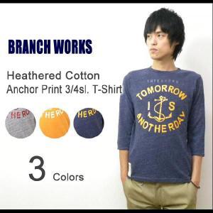 BRANCH WORKS(ブランチワークス) 杢コットン 7分袖 アンカープリントTシャツ 霜降り 七分袖T アメカジT マリン 【BW123103】|robinjeansbug