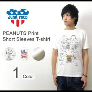 JUNKFOOD(ジャンクフード) ピーナッツ プリントTシャツ PEANUTS 半袖 カットソー スヌーピー SNOOPY キャラクターモチーフ アメリカ製 MADE IN USA|robinjeansbug
