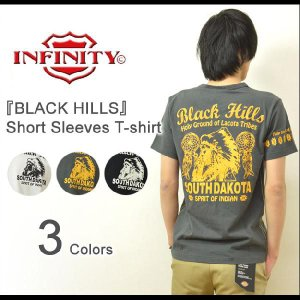 INFINITY(インフィニティ) 『BLACK HILLS』 刺繍&プリント 半袖Tシャツ ネイティブアメリカン カットソー インディアン 民族 胤富仁帝 【BI-9241】【BI9241】|robinjeansbug