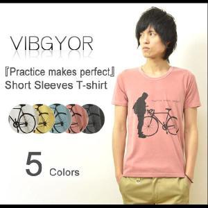 VIBGYOR(ヴィブジョー) 『Practice makes perfect』 プリント 半袖Tシャツ ユーズド加工 プリントTシャツ ビブジョー TC生地 シルエット 【VG-CN24】|robinjeansbug