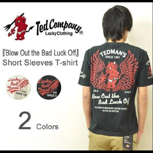 TEDMAN'S(テッドマン) 『Blow Out the Bad Luck Off』 半袖Tシャツ ウイング バイカーズ モーターサイクル エフ商会 TED COMPANY 【TDSS-409】【TDSS409】|robinjeansbug