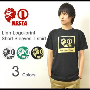 NESTABRAND(ネスタブランド) ライオンロゴプリント 半袖 Tシャツ ボックスロゴ カットソー レゲエ ストリート TS1305SP|robinjeansbug