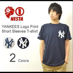 NESTA BRAND(ネスタブランド) YANKEES ロゴプリント 半袖 Tシャツ ニューヨークヤンキース コラボ カットソー ベースボール レゲエ ストリート TS1327SP|robinjeansbug