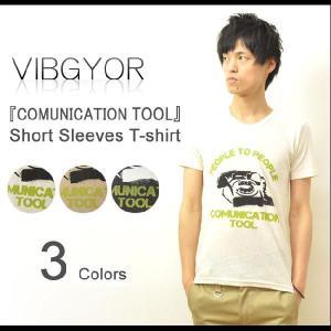 VIBGYOR(ヴィブジョー) COMUNICATION TOOL 麻混紡 半袖Tシャツ 綿麻素材 プリントTシャツ ビブジョー リネンコットン アート VG-CL37|robinjeansbug