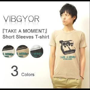 VIBGYOR(ヴィブジョー) TAKE A MOMENT 麻混紡 半袖Tシャツ 綿麻素材 プリントTシャツ ビブジョー リネンコットン アート VG-CL39|robinjeansbug