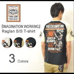 PEAK'D YELLOW(ピークドイエロー) IMAGINATION WORKING プリント ラグラン 半袖Tシャツ 着物美女モチーフ ラグランカットソー エフ商会 太陽 PYT-176|robinjeansbug