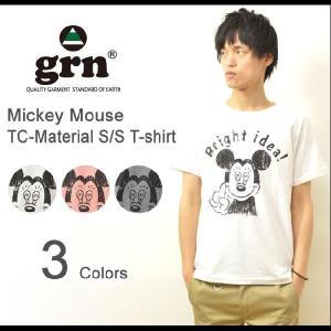 grn(ジーアールエヌ) Mickey Mouse プリント TC 半袖Tシャツ ミッキーマウス キャラクターTシャツ ディズ二? 杢調 霜降り GRN113116R-C|robinjeansbug