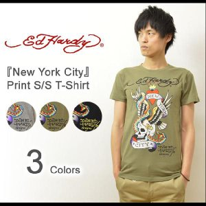 Ed Hardy(エドハーディー) New York City 半袖Tシャツ ヴィンテージタトゥーデザイン コットン素材 半袖カットソー ロゴ スカル ニューヨークシティー EDT004|robinjeansbug