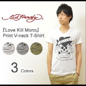 Ed Hardy(エドハーディー) Love Kill Mono Vネック 半袖Tシャツ ヴィンテージタトゥーデザイン コットン素材 半袖カットソー スカル ハート ラブキル EDT006|robinjeansbug