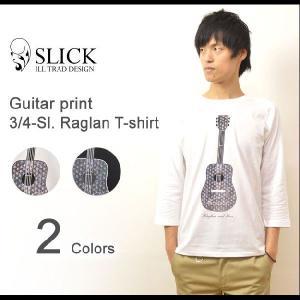 Slick(スリック) ギタープリント 7分袖 ラグランTシャツ アコースティックギター ラグランスリーブ カットソー アコギ 楽器 きれいめTシャツ 5169492|robinjeansbug