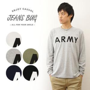 ロンT ARMY  オリジナル アーミー ミリタリー プリント 長袖 Tシャツ メンズ レディース 大きいサイズ インナー アメリカ 陸軍 白 黒 LRT-ARMY|robinjeansbug