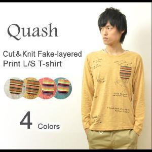 Quash(クワッシュ) カット&ニット レイヤード風 長袖tシャツ メンズ ポケット付き Tシャツ ロンt プリント 重ね着 3624-041|robinjeansbug
