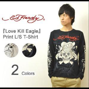 Ed Hardy(エドハーディー) Love Kill Eagle 長袖tシャツ エド ハーディー ロンt 長袖 メンズ バックプリント スカル ドクロ ハート イーグル ラブキル EDLT001|robinjeansbug