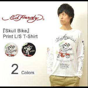 Ed Hardy(エドハーディー) Skull Bike 長袖tシャツ エド ハーディー ロンt タトゥー 長袖 カットソー メンズ バックプリント スカル ドクロ バイク EDLT002|robinjeansbug