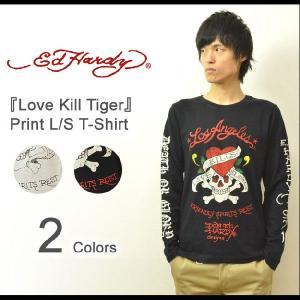 Ed Hardy(エドハーディー) Love Kill Tiger 長袖tシャツ エド ハーディー ロンt 長袖 カットソー メンズ バックプリント スカル ドクロ タイガー EDLT004|robinjeansbug