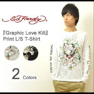 Ed Hardy(エドハーディー) Graphic Love Kill 長袖tシャツ エド ハーディー ロンt 長袖 カットソー メンズ バックプリント スカル ドクロ ツバメ EDLT005|robinjeansbug