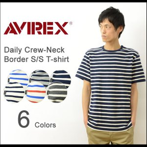AVIREX アヴィレックス デイリー クルーネック 半袖 ボーダー Tシャツ ストレッチ フライス シンプル インナー 丸首 Tシャツ カットソー アビレックス 6163371|robinjeansbug