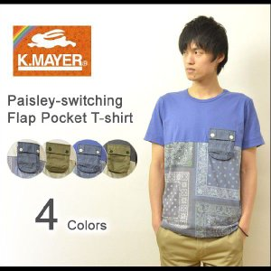 KRIFF MAYER(クリフメイヤー) ペイズリー柄 フラップポケット Tシャツ メンズ ポケTシャツ カモフラージュ 迷彩 バイカラー 半袖Tシャツ 2トーン 1357018|robinjeansbug