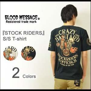 BLOOD MESSAGE(ブラッドメッセージ) STOCK RIDERS 半袖Tシャツ メンズ プリントTシャツ バイカー スカル タトゥー エフ商会 ホワイト ブラック BLST-670|robinjeansbug