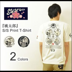 SUIKYO(粋狂) 桃太郎 和柄プリント 半袖Tシャツ メンズ もも太郎 和メカジ カットソー エフ商会 ホワイト ブラック SYT-126 SYT126 robinjeansbug