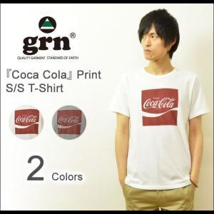 grn(ジーアールエヌ) コカコーラ プリントTシャツ メンズ レディース 半袖Tシャツ コーラ ロゴTシャツ Coca Cola ライセンス 企業 白 グレー GU421083R|robinjeansbug