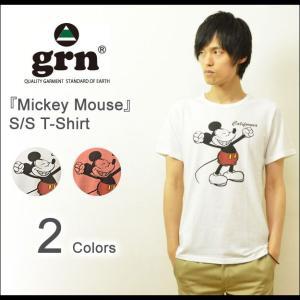 grn(ジーアールエヌ) ミッキーマウス プリントTシャツ メンズ レディース 半袖Tシャツ ミッキー キャラクターTシャツ Micky Disney ディズニー GU421081R|robinjeansbug