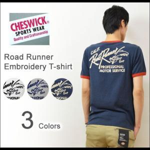 CHESWICK(チェスウィック) ロードランナー チェーン刺繍 半袖Tシャツ メンズ アメカジTシャツ ポケット ROAD RUNNER ワッペン リンガーTシャツ 東洋 CH76609|robinjeansbug