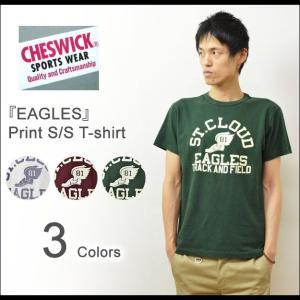 CHESWICK(チェスウィック) EAGLES プリント 半袖Tシャツ メンズ アメカジTシャツ カレッジTシャツ ウォッシュ加工 ひび割れプリント イーグルス 東洋 CH76655|robinjeansbug