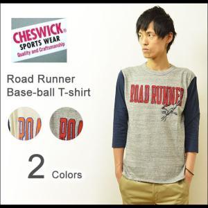 CHESWICK(チェスウィック) ロードランナー ベースボール Tシャツ メンズ 7分袖 チェーン刺繍 ロゴTシャツ ワッペン アメカジ キャラ ROAD RUNNER 東洋 CH66791|robinjeansbug