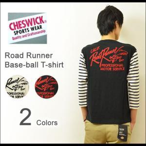 CHESWICK(チェスウィック) ロードランナー ベースボール Tシャツ メンズ 7分袖 チェーン刺繍 ロゴTシャツ ワッペン ポケット ボーダー アメカジ 東洋 CH66793|robinjeansbug