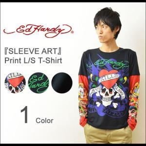 Ed Hardy(エドハーディー) SLEEVE ART ロングTシャツ メンズ ロンT 長袖 Tシャツ スリーブアート タトゥー スカル ドクロ ロック EDLT008|robinjeansbug