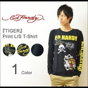 Ed Hardy(エドハーディー) TIGER ロングTシャツ メンズ ロンT 長袖 鷹 虎 和柄 タトゥー スカル ドクロ ロック EDLT010|robinjeansbug