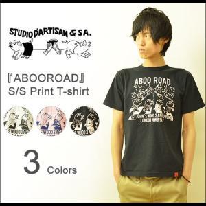 STUDIO D'ARTISAN(ステュディオダルチザン) ABOO ROAD 半袖 Tシャツ メンズ プリント アメカジ ビートルズ パロディ アビイロード 豚 ブタ 9752A|robinjeansbug