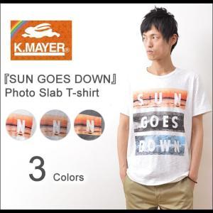 KRIFF MAYER(クリフメイヤー) SUN GOES DOWN 半袖 Tシャツ メンズ フォトT ボックスロゴ カットソー サーフ マリン アメカジ クルーネック 1454993|robinjeansbug